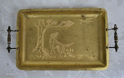 Rare Antique Vintage Small Brass English Setter Hunting Dogs Etched Scene Tray
