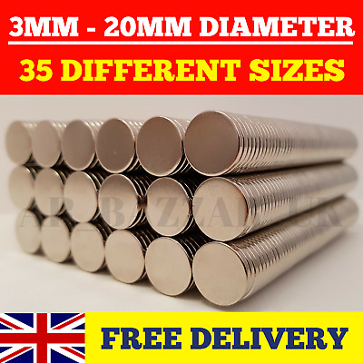 Neodymium Magnets Super Strong Rare Earth Magnets Craft Disc N35 N52 | 3mm-20mm