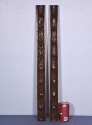 """*29"""" Pair of French Antique Trim Posts/Pillars in Highly Carved Chestnut Salvage"""