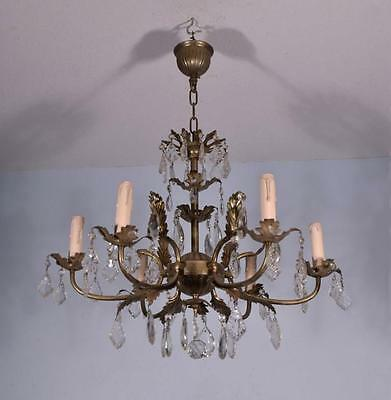 *French Vintage Silver Painted Bronze & Crystal Chandelier/Hanging Lamp