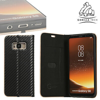 Gorilla Tech Ultra Slim Carbon Fibre Book Protective Cover For iPhone XS X 8 7+