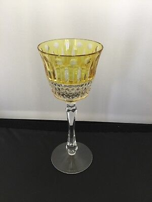 "Faberge Imperial Xenia Amber/yellow Cut to Clear Crystal Wine Goblet 8.25"" New"