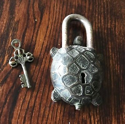 "Vintage Chinese RARE Old Style Brass Turtle Lock With Key 6"" Size"
