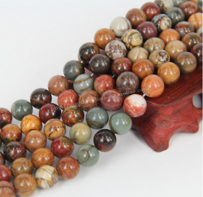 4mm 6mm 8mm 10mm 12mm Natural Gemstone Picasso Jasper Stone Jewelry Loose Beads