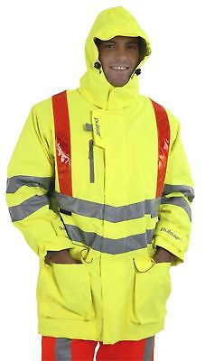 Pulsar Padded Traffic Management Storm Coat Hi Viz Yellow - Orange Bands P488