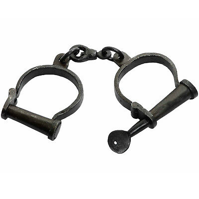 Superb Working Metal Handcuffs/Shackles + Key Georgian / Victorian/ re-enactment