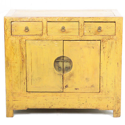 "Antique Chinese 37"" Wide 33"" Tall Rustic Yellow 2 Door 3 Drawer Cabinet Vanity"