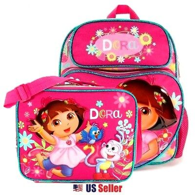 "Dora the Explorer 12"" Medium School Backpack Bag and Lunch Bag Set: Sunflower"