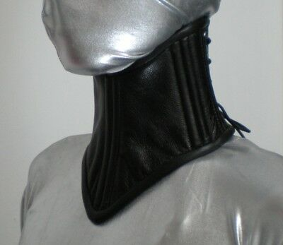 Double Layer Real Cow Leather Under Chin Neck Corset Posture Collar  Black