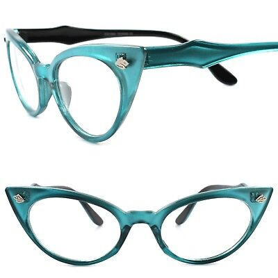 Classic Vintage Retro 70s Fashion Womens Blue Frame Cat Eye Clear Lens Glasses