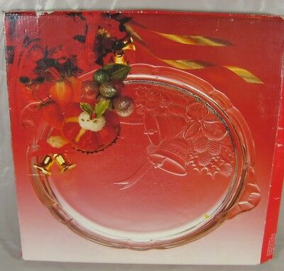 Mikasa Crystal Cake/Cookie Serving Plate Holiday Bells RC197/310 Japan