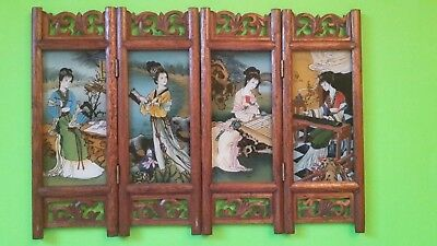 Vintage Chinese Japanese 4 Panel Hand Painted Room Divider,4 nice Asian ladies