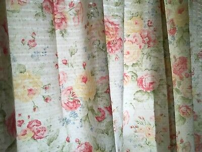 """🇺🇸2 panels Martha Stewart cottage floral shabby chic curtains pink, green 60"""""""