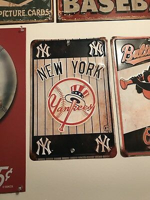 MLB New York Yankees Baseball Vintage Look Tin Sign Bar Pub