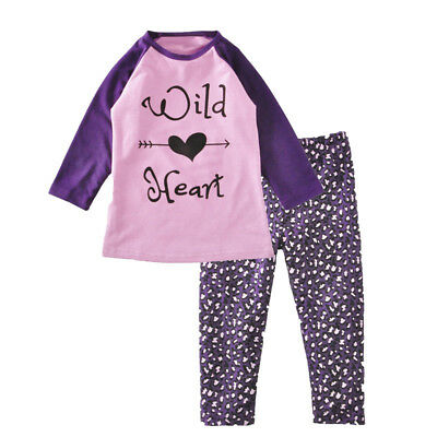 Cute Toddler Baby Girls Love Heart Letter T-Shirt Long Pants Outfit Gift Nice