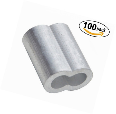 """PES 100 Packs Cable Crimps Wire Ferrules Rope 1/8"""" Stainless Steel Cable Aircraf"""