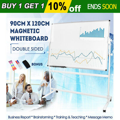 90x120cm Double Side WHITEBOARD Magnetic Maker With Stand Mobile Home & Office