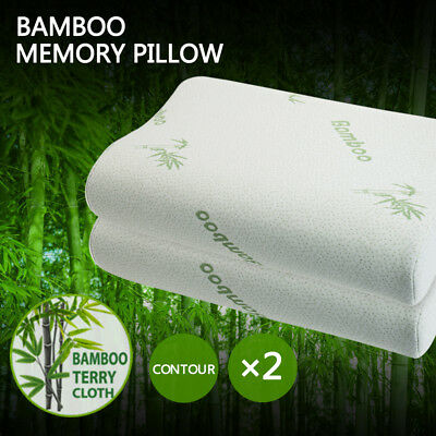 2x Luxury Soft Contour Bamboo Pillow Memory Foam Fabric Fibre Cover Bed 50X30CM