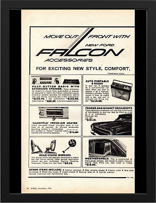 """1967 XR FORD FALCON ACCESSORIES AD A3 FRAMED PHOTOGRAPHIC PRINT 15.7""""x11.8"""""""