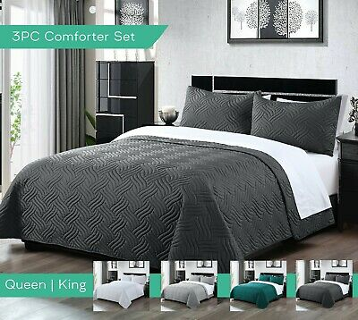 5 Piece Reversible Embossed Bedspread Set 1 comforter 4 pillowcases Machine wash