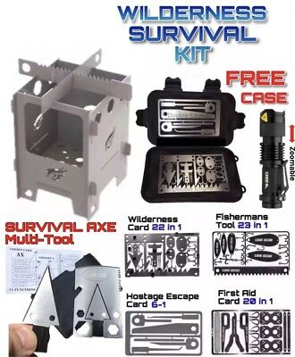 #Survival Card Set Axe Hunting Fishing First Aid Escape Mini Stove Q5 Flashlight