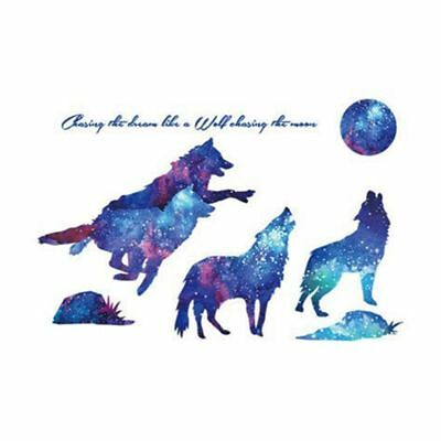 Wolf Wall Sticker - Blue Night Stars Wolves Howling at The Moon R6I3