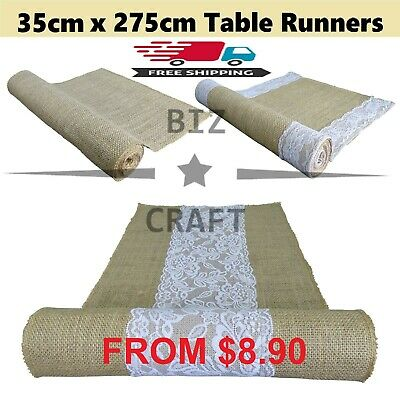Hessian Natural Burlap Jute Table Runner Fabric for Vintage Rustic Wedding Party