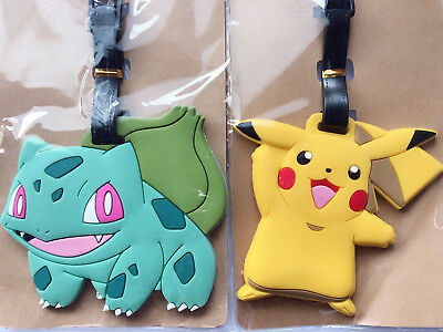 Boy Kid Children Go Pokemon Pikachu Travel Luggage Badge School Bag Name Tag