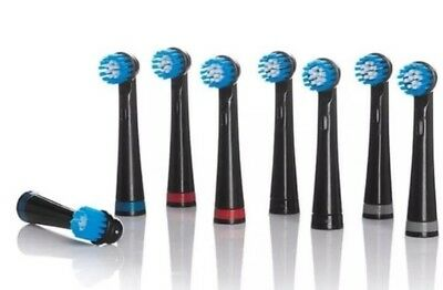 Nevadent Replacement Brush Heads 8x.New black Colour!!