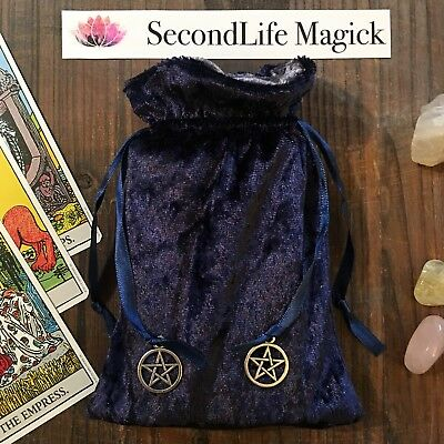 🔮 Blue Velvet Tarot Oracle Bag Pouch ~ Wicca, Occult, Magick, Pagan.