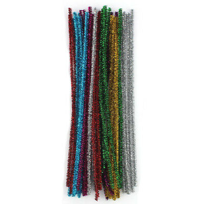 100 Chenille Craft Stems Tinsel Pipe Cleaners Christmas Asst Colours 30cm x A3A4