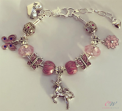 Unicorn Girls / Childs Charm Bracelet - Silver Plated Pink , Personalised Gift