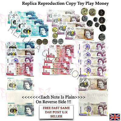 Children's Kids Play Fake Pretend Toy Money Role Shops Cash New £5 & £10 Note