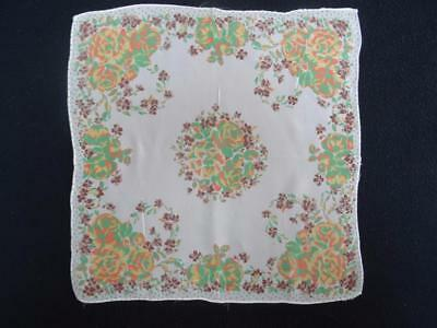 Vintage 1930's Handkerchief Hanky - Printed Autumnal Coloured Floral Design