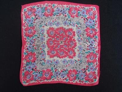 Vintage 1930's Handkerchief Hanky - Printed  Pink Coloured Floral Design
