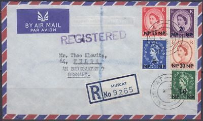 1962 BPAEA Muscat Oman R-Cover to Germany, multi colour franking QEII [bl0338]