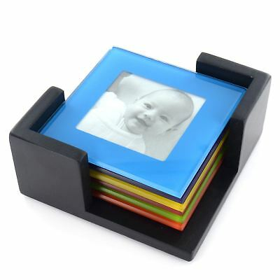 SET OF 6 Coloured Glass Photo Coasters Picture Frame Placemats ...