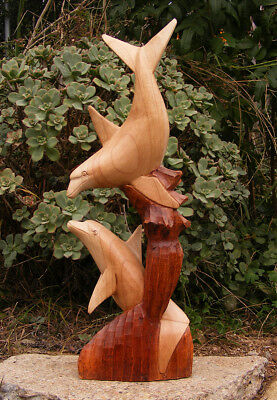 Tropical Nautical Dolphin Statue Wood Carving Island Style Decor Tiki Bar 19""