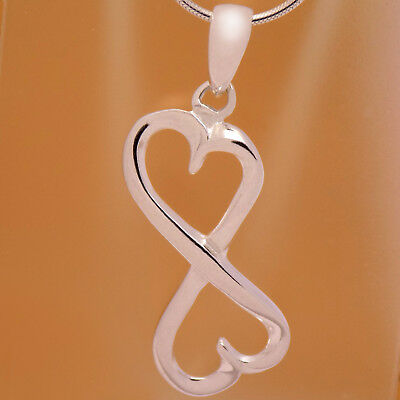 Vintage Solid 925 Sterling Silver Lovely Double Heart Hearts Infinity Pendant