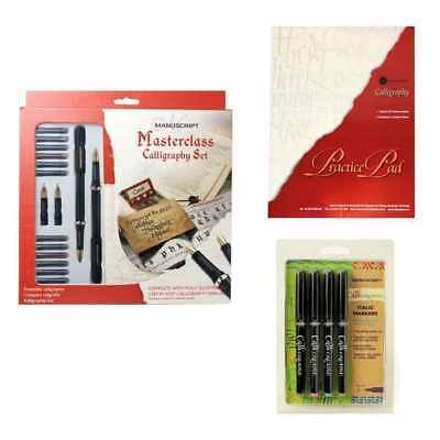 Manuscript Ultimate Masterclass Set Calligraphy with Pad and Italic Pen Bundle