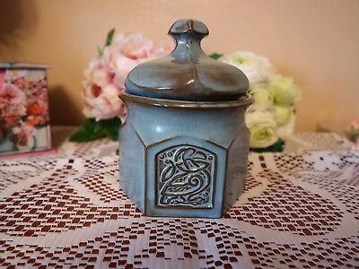 TYN LLAN Welsh  Studio Pottery CELTIC DESIGN Blue LIDDED SUGAR BASIN