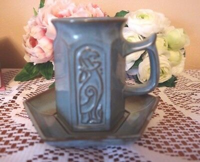 TYN LLAN Welsh Studio Pottery CELTIC DESIGN  Blue MUG & SAUCER