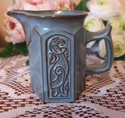TYN LLAN Welsh  Studio Pottery Celtic Design BLUE MILK JUG