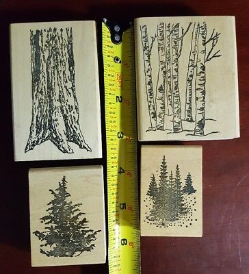 Lot of 4 Tree Themed Rubber Stamps, Pine Tree, Winter, Trunk, Thicket