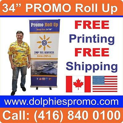 """LOT OF 6 - Trade Show 34*80"""" Retractable Banner Stands Displays + FREE PRINTING"""