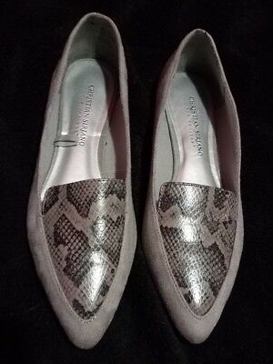 0bac6ff94554 Christian Siriano Women s Gray Suede Pointy Toe FLATS~Size 7~Shoes~Reptile