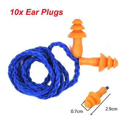 10PCS Soft Silicone Corded Ear Plugs Safety Reusable Hearing Protection Earplugs