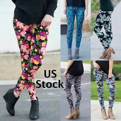 Womens Leggings One Size OS Soft Holiday Summer Floral Paisley Various Prints