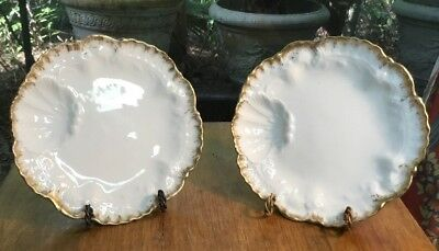 Antique Pair of French Oyster Plates with Fantastic Makers Marks c.1890s