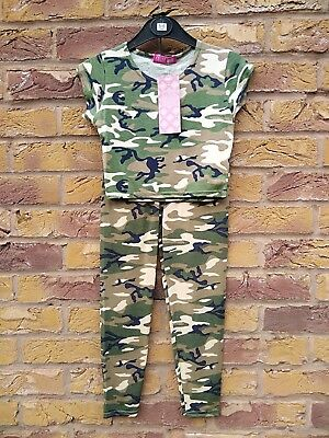 Girls Kids Khaki Camouflage Print Crop Top Leggings Set 7 8 9 10 11 12 13 Years